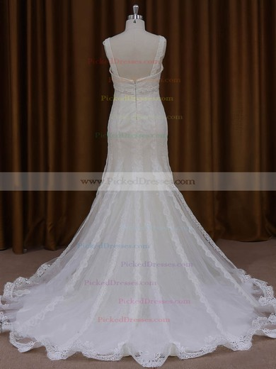 Trumpet/Mermaid V-neck Graceful Tulle Appliques Lace Ivory Wedding Dresses #PDS00022084