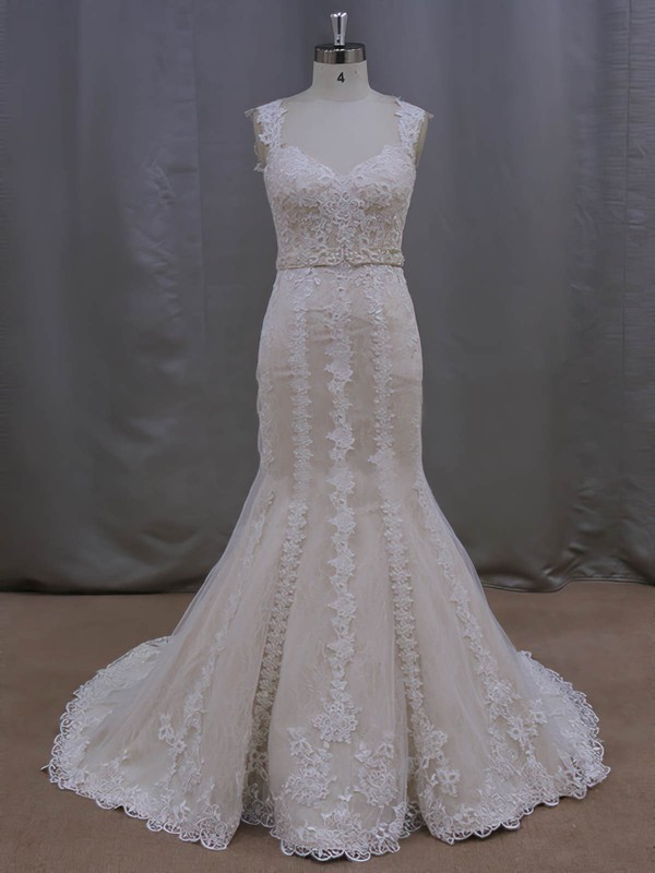 Noble V-neck Ivory Lace Tulle Sashes/Ribbons Trumpet/Mermaid Wedding Dresses #PDS00022085