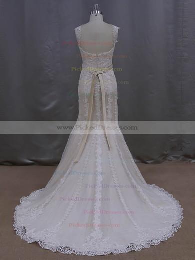 Noble V-neck Ivory Lace Tulle Sashes/Ribbons Trumpet/Mermaid Wedding Dresses #PDS00022085