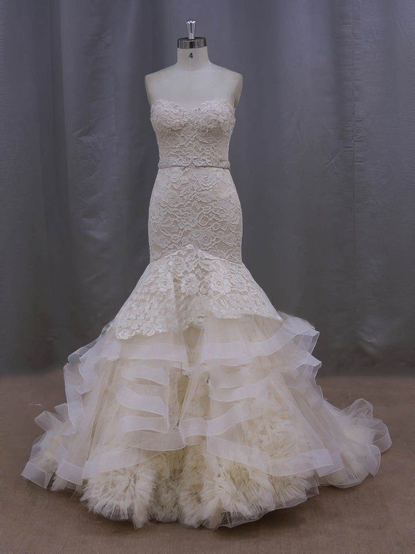 Champagne Court Train Tiered Lace Tulle Trumpet/Mermaid Classic Wedding Dresses #PDS00022086