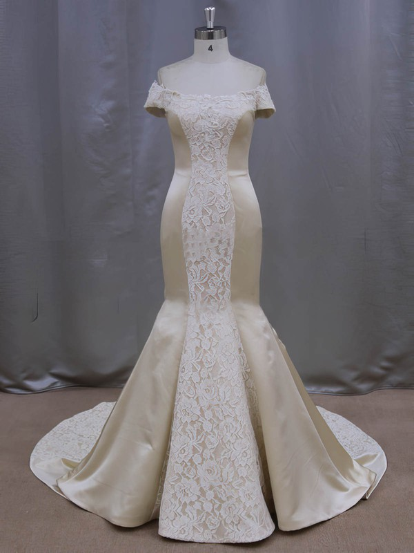 Lace Satin Bow Court Train Modern Champagne Off-the-shoulder Wedding Dresses #PDS00022087