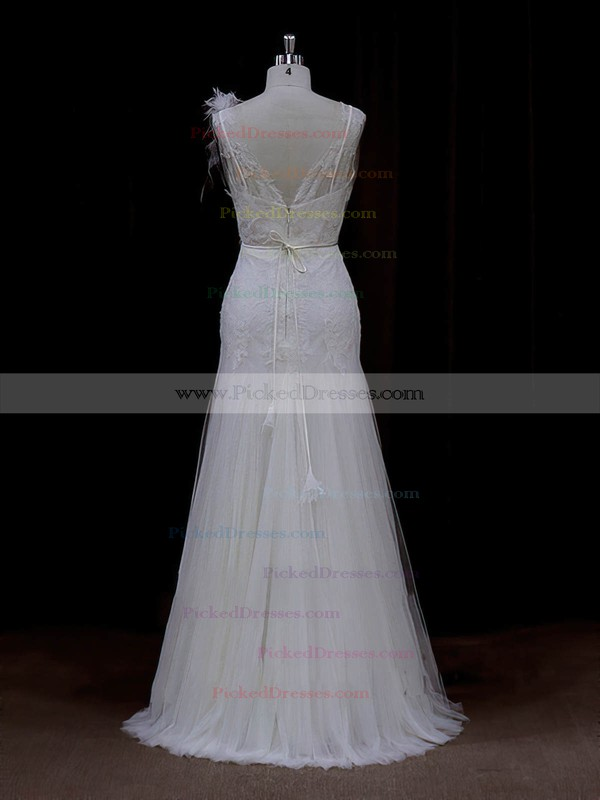 Sheath/Column Tulle Appliques Lace V-neck Online Ivory Wedding Dresses #PDS00022088