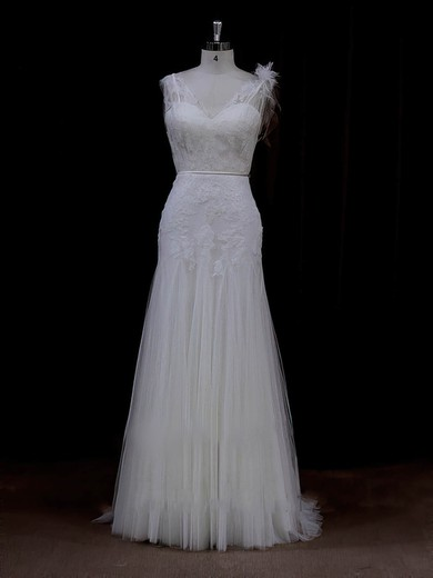 Sheath/Column Tulle Appliques Lace V-neck Online Ivory Wedding Dresses #PDS00022088