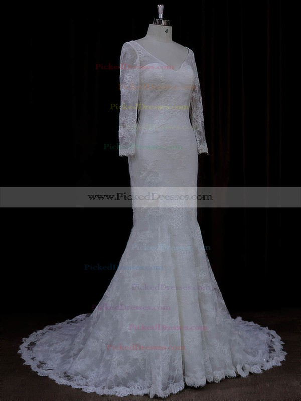 Long Sleeve V-neck Ivory Lace with Buttons Trumpet/Mermaid Wedding Dresses #PDS00022089