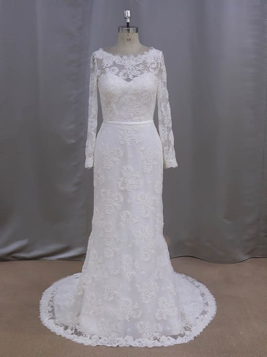 Sheath/Column Lace with Sequins Ivory Court Train Long Sleeve Wedding Dresses #PDS00022090