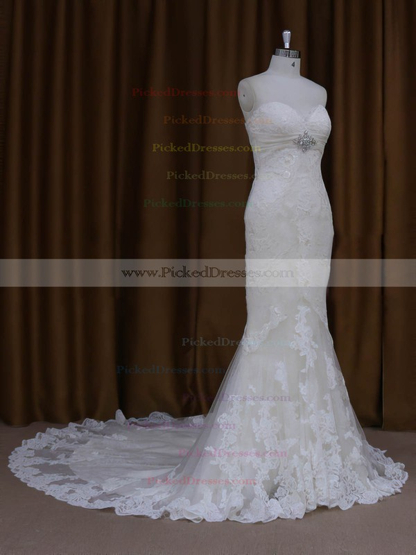 Modest Sweetheart Ivory Lace Tulle with Beading Trumpet/Mermaid Wedding Dresses #PDS00022091