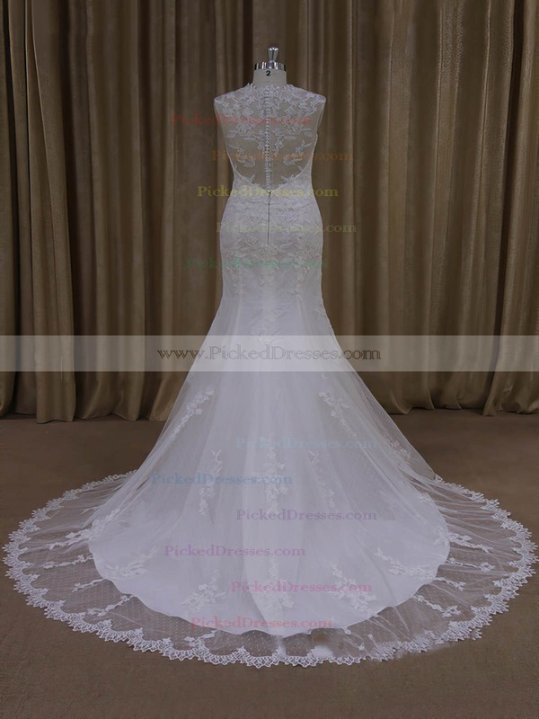 Ivory V-neck Tulle Appliques Lace Vintage Trumpet/Mermaid Wedding Dresses #PDS00022092