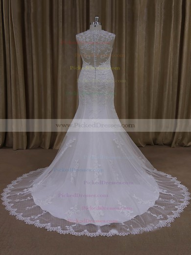 Ivory V-neck Tulle Appliques Lace Vintage Trumpet/Mermaid Wedding Dresses #PDS00022092