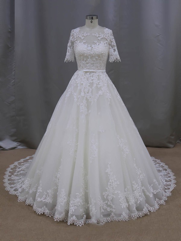 Elegant Scoop Neck Tulle Appliques Lace 1/2 Sleeve Ball Gown Wedding Dresses #PDS00022093