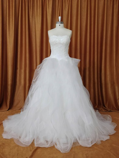 Strapless Tulle Chapel Train Appliques Lace Ivory Fabulous Wedding Dresses #PDS00022094