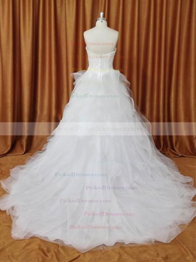 Strapless Tulle Chapel Train Appliques Lace Ivory Fabulous Wedding Dresses #PDS00022094