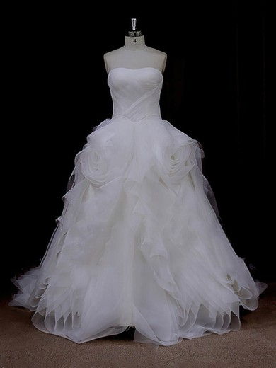 Court Train Ruffles Tulle Ivory Lace-up Princess Designer Wedding Dresses #PDS00022095