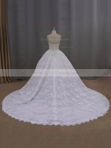 Ball Gown Ivory Lace Beading New Arrival Cathedral Train Wedding Dresses #PDS00022096