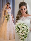 Online Lace Tulle Sequins Sweep Train Long Sleeve Off-the-shoulder Wedding Dresses #PDS00022499