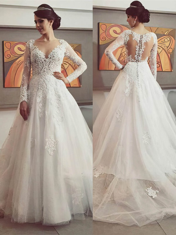 Princess Tulle with Appliques Lace Court Train Long Sleeve Designer Wedding Dresses