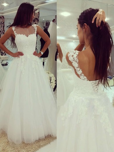 Scoop Neck Tulle Appliques Lace Floor-length Lace-up White Wedding Dress #PDS00022503