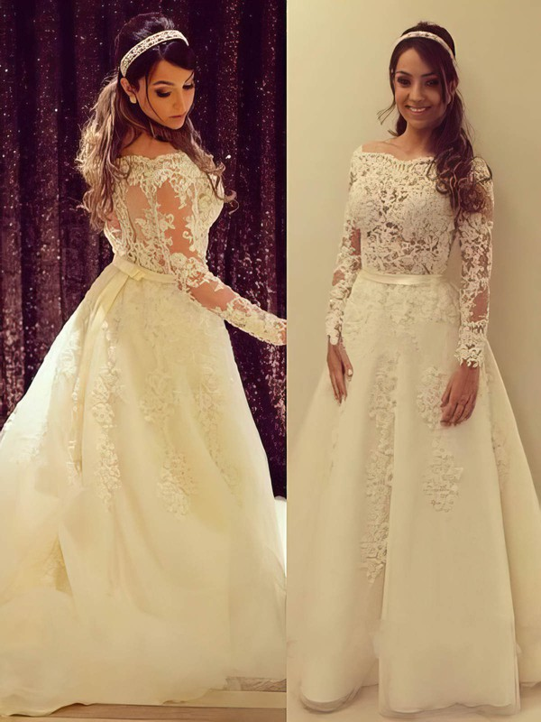 A-line Off-the-shoulder Tulle Appliques Lace Perfect Long Sleeve Wedding Dress #PDS00022504