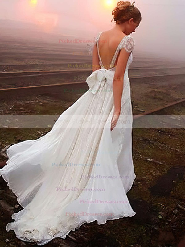 Latest V-neck Chiffon Sweep Train with Beading Open Back Wedding Dress #PDS00022505