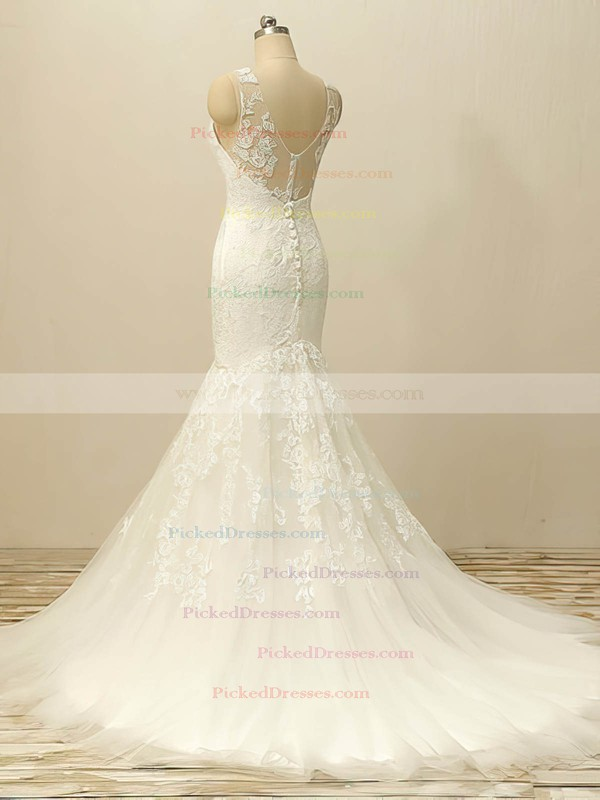 White Scoop Neck Tulle Appliques Lace Designer Trumpet/Mermaid Wedding Dresses #PDS00022506