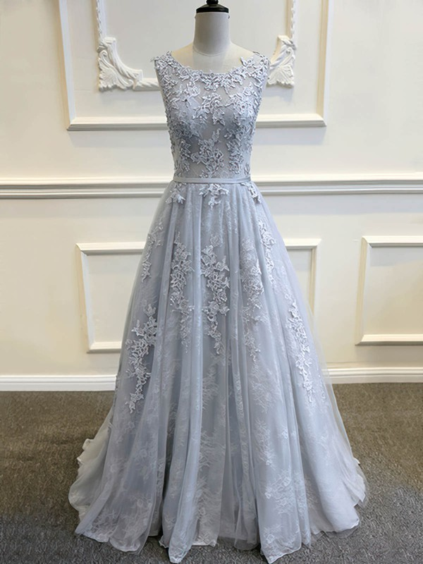 Elegant Scoop Neck Tulle Sweep Train Appliques Lace Open Back Wedding Dresses #PDS00022507