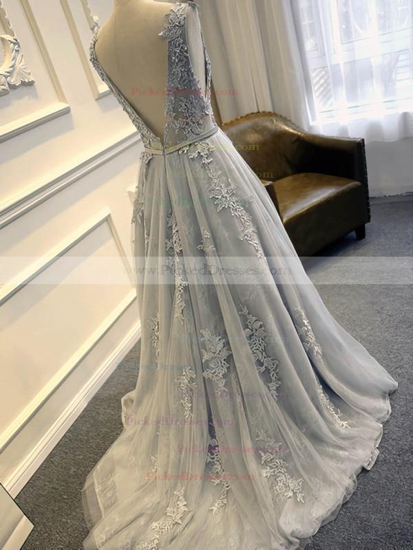 Elegant Scoop Neck Tulle Sweep Train Appliques Lace Open Back Wedding Dresses #PDS00022507