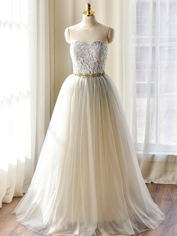 Sweetheart Tulle with Sashes / Ribbons Floor-length Modest Wedding Dresses #PDS00022508