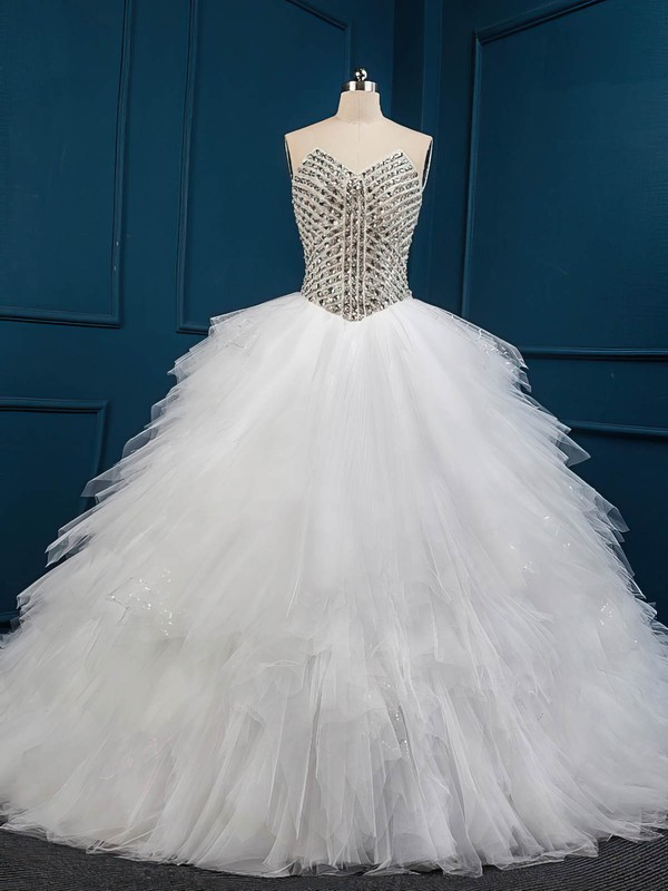 Unique Chapel Train White Tulle with Crystal Detailing Ball Gown Wedding Dresses #PDS00022509
