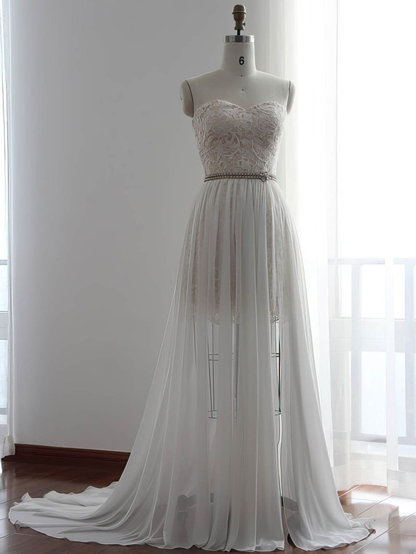White Chiffon with Lace Pretty Sheath/Column Detachable Wedding Dresses #PDS00022510