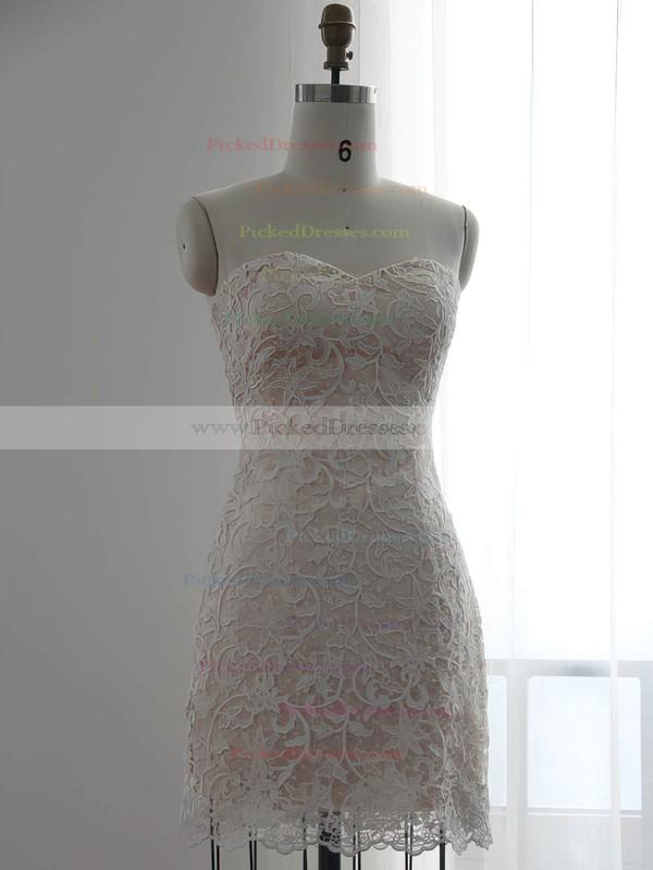 White Chiffon with Lace Pretty Sheath/Column Detachable Wedding Dresses #PDS00022510