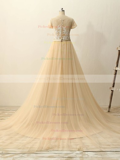 Champagne Tulle Appliques Lace Court Train Classy Short Sleeve Wedding Dresses #PDS00022511