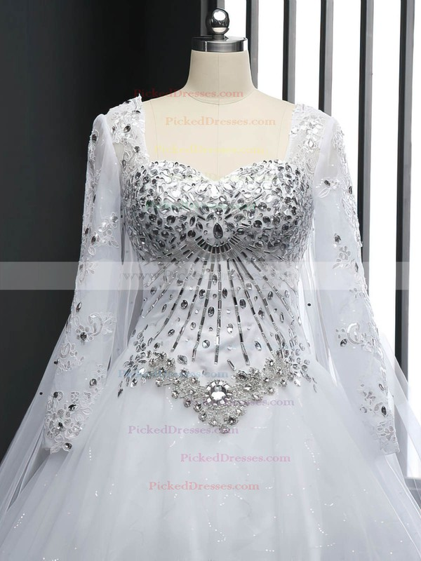 Expensive Ball Gown Tulle Crystal Detailing Chapel Train Long Sleeve Wedding Dresses #PDS00022512