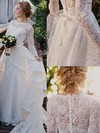 Scalloped Neck Lace Sashes / Ribbons Sweep Train Long Sleeve Perfect Wedding Dresses #PDS00022513