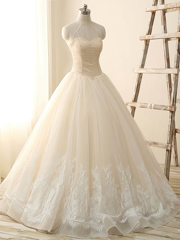 Different Ivory Tulle with Beading Ball Gown High Neck Wedding Dress #PDS00022514