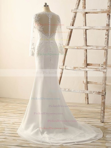 Discount V-neck Chiffon Appliques Lace Trumpet/Mermaid Long Sleeve Wedding Dress #PDS00022515