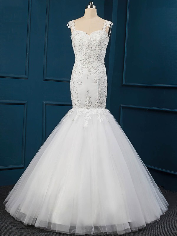 Trumpet/Mermaid Sweep Train White Tulle Appliques Lace Latest Wedding Dress #PDS00022516
