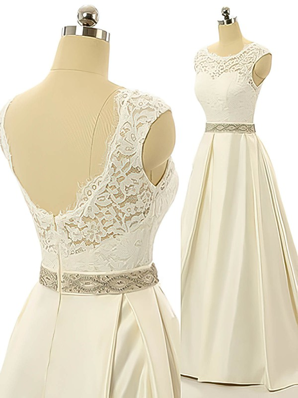 Scoop Neck Elastic Woven Satin Lace Sashes / Ribbons Sweep Train Open Back New Wedding Dress #PDS00022517