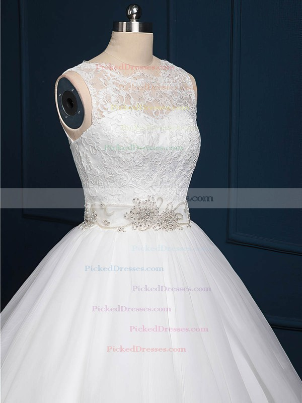 Ball Gown Tulle Lace Sashes / Ribbons Sweep Train Popular White Wedding Dress #PDS00022518