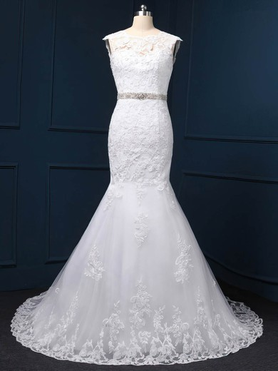 Exclusive White Tulle Appliques Lace Scoop Neck Trumpet/Mermaid Wedding Dress #PDS00022519