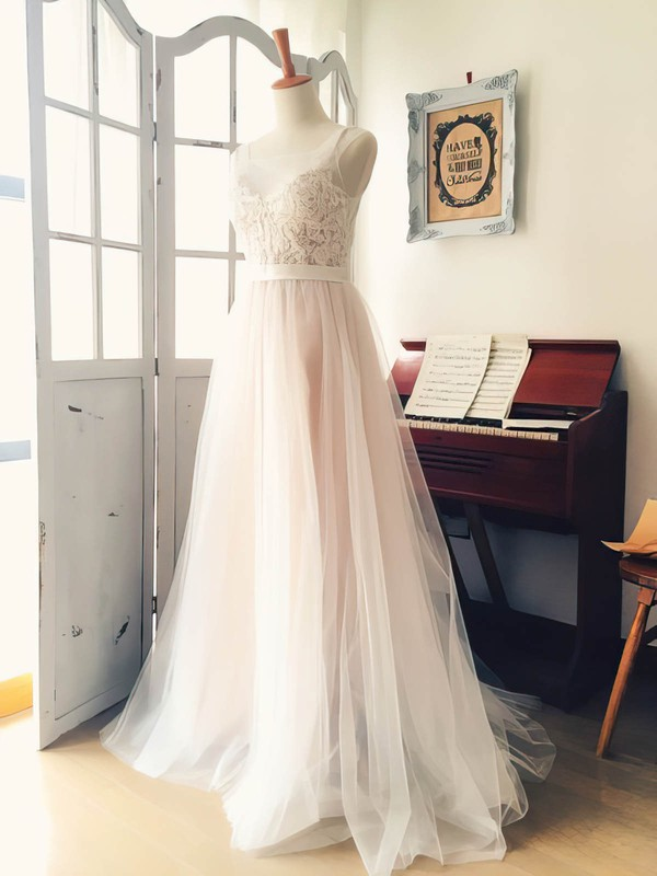 Scoop Neck Tulle with Appliques Lace Sweep Train Boutique Wedding Dress #PDS00022521
