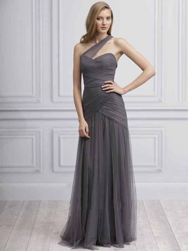 Backless Sheath/Column Tulle Ruffles Classy One Shoulder Bridesmaid Dresses #PDS01012725