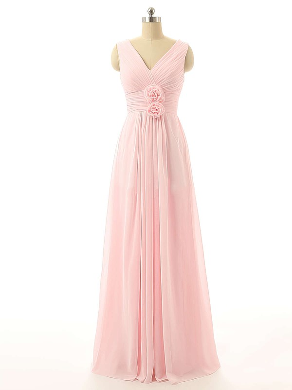 Online V-neck Pink Chiffon with Flower(s) Floor-length Bridesmaid Dresses #PDS01012726