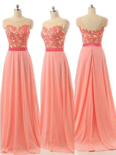 Elegant Scoop Neck Chiffon Appliques Lace Sweep Train Long Bridesmaid Dresses #PDS01012728