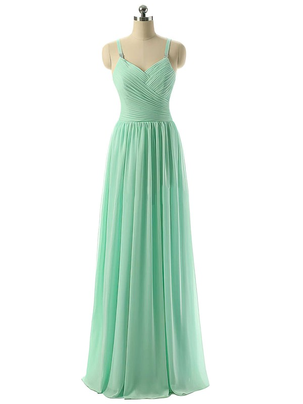 V-neck Sage Chiffon Ruched Floor-length Modest Bridesmaid Dresses #PDS01012729