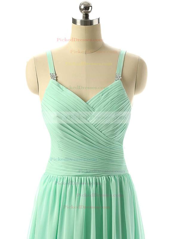 V-neck Sage Chiffon Ruched Floor-length Modest Bridesmaid Dresses #PDS01012729