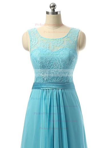 Pretty A-line Scoop Neck Chiffon with Lace Blue Long Bridesmaid Dresses #PDS01012730
