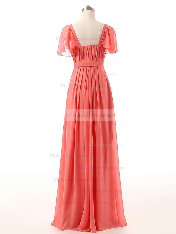 Watermelon Sweetheart Chiffon Ruffles Affordable Short Sleeve Bridesmaid Dresses #PDS01012732