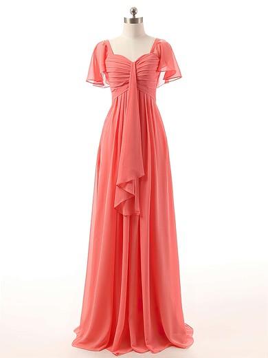 Watermelon Sweetheart Chiffon Ruffles Affordable Short Sleeve Bridesmaid Dresses #PDS01012732