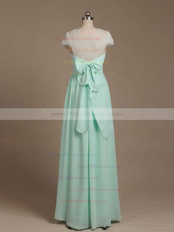 Inexpensive Floor-length Scoop Neck Chiffon Lace with Bow Short Sleeve Bridesmaid Dresses #PDS01012733
