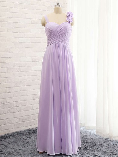A-line Sweetheart Lavender Chiffon with Flower(s) Cheap Bridesmaid Dresses #PDS01012735