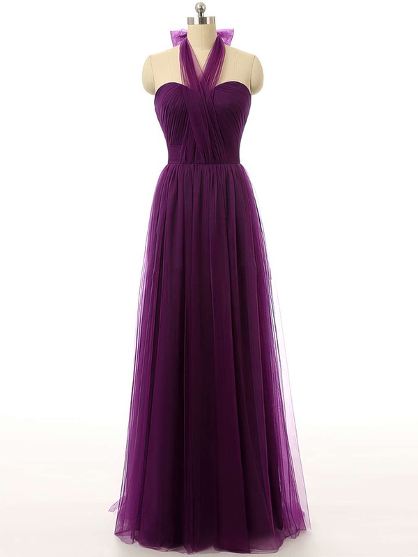 Modest Tulle Ruffles Purple Floor-length Halter Bridesmaid Dresses #PDS01012737
